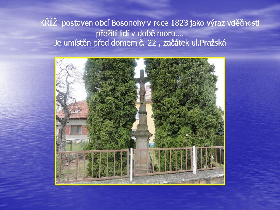 KŘÍŽ- postaven obcí Bosonohy v roce 1823 jako výraz vděčnosti přežití lidí v době moru….