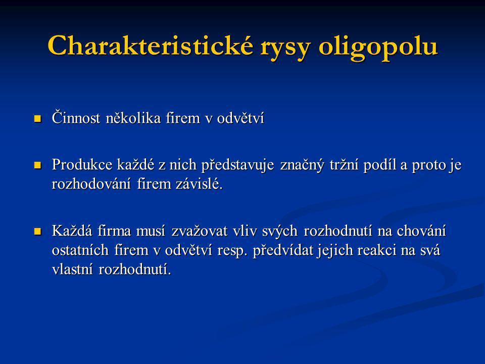 Charakteristické rysy oligopolu