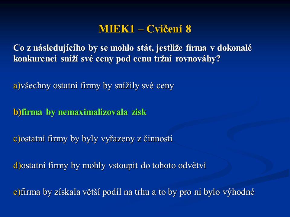 MIEK1 – Cvičení 8 Co z následujícího by se mohlo stát, jestliže firma v dokonalé konkurenci sníží své ceny pod cenu tržní rovnováhy