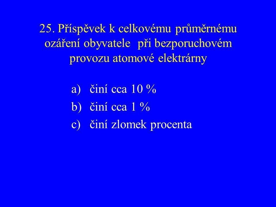 25. Příspěvek k celkovému průměrnému ozáření obyvatele při bezporuchovém provozu atomové elektrárny