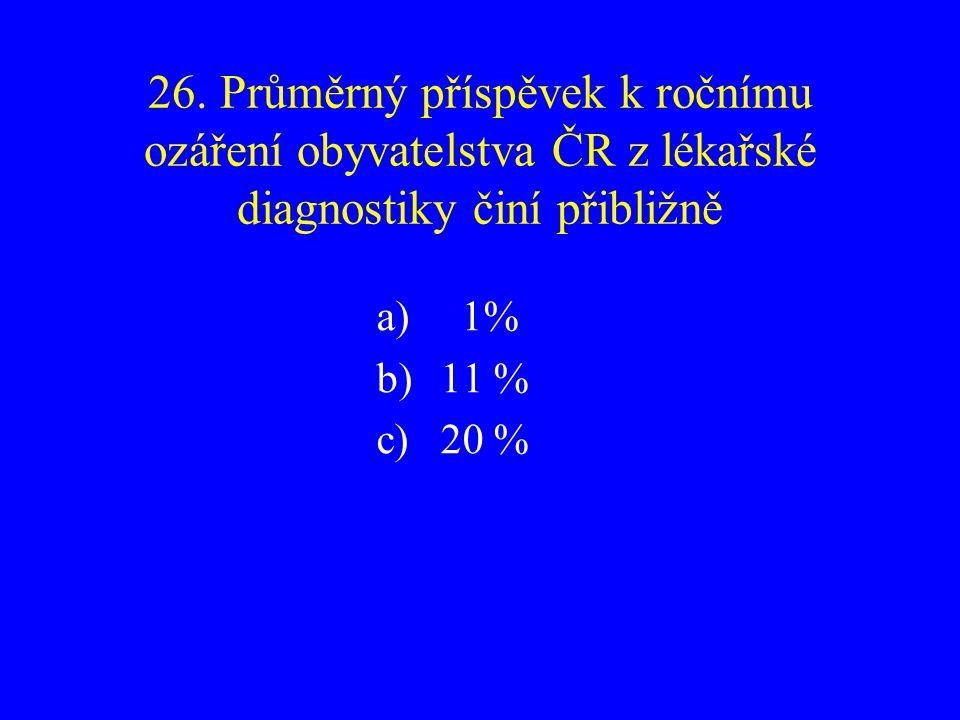 26. Průměrný příspěvek k ročnímu ozáření obyvatelstva ČR z lékařské diagnostiky činí přibližně