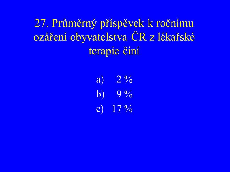 27. Průměrný příspěvek k ročnímu ozáření obyvatelstva ČR z lékařské terapie činí
