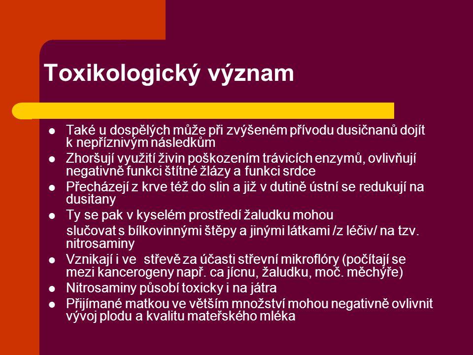 Toxikologický význam Také u dospělých může při zvýšeném přívodu dusičnanů dojít k nepříznivým následkům.