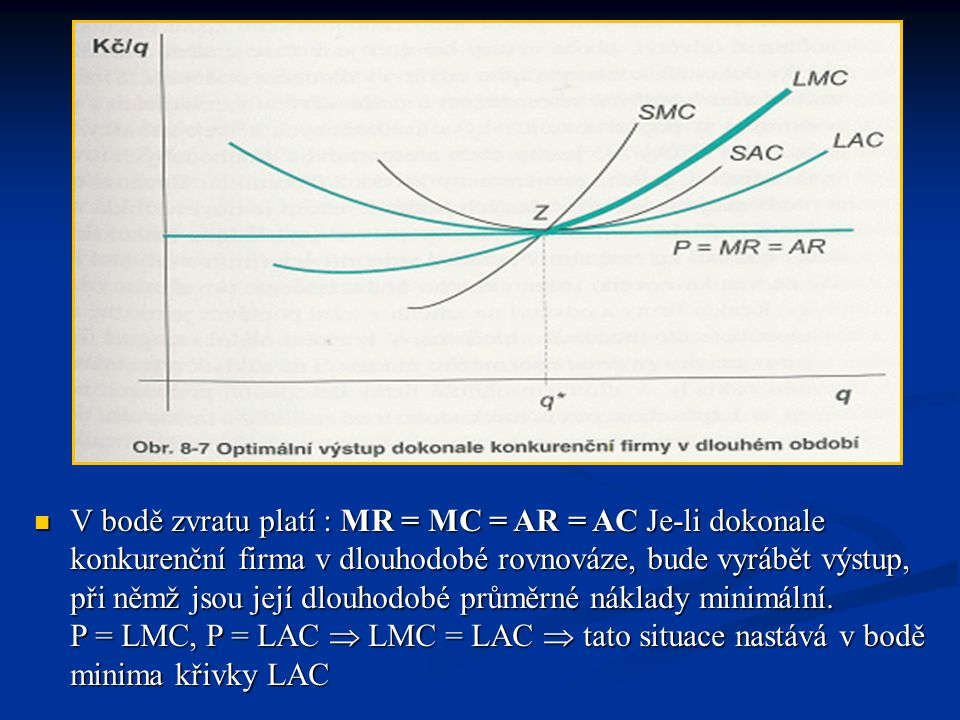 V bodě zvratu platí : MR = MC = AR = AC Je-li dokonale konkurenční firma v dlouhodobé rovnováze, bude vyrábět výstup, při němž jsou její dlouhodobé průměrné náklady minimální.
