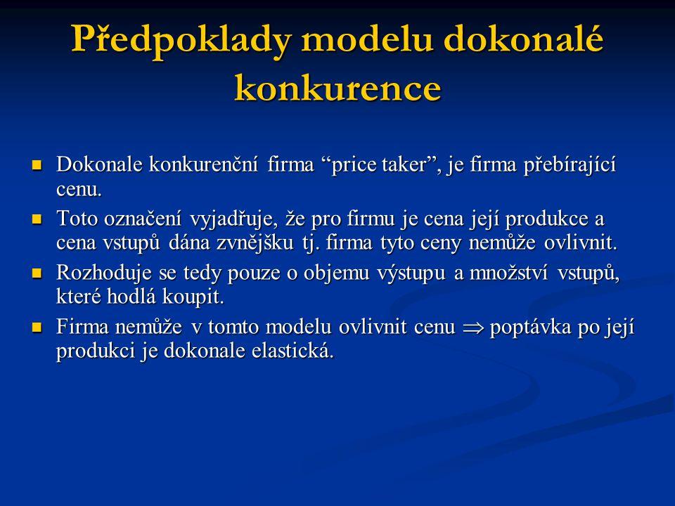 Předpoklady modelu dokonalé konkurence
