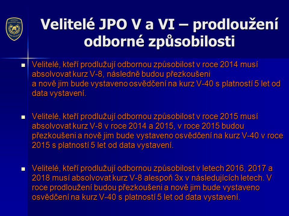 Velitelé JPO V a VI – prodloužení odborné způsobilosti