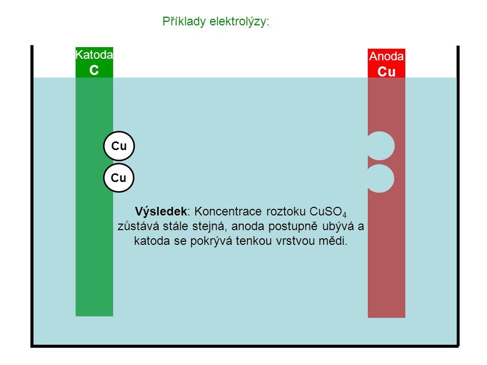 C Cu Příklady elektrolýzy: Katoda Anoda Cu Cu
