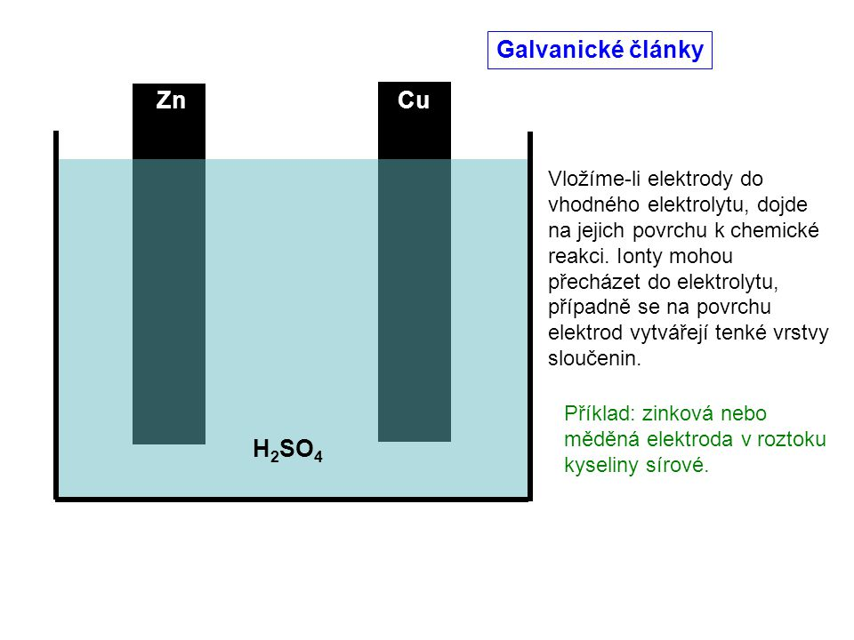 Galvanické články Zn Cu H2SO4