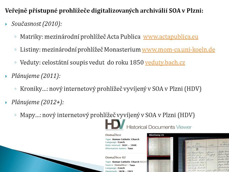 Veřejně přístupné prohlížeče digitalizovaných archiválií SOA v Plzni: