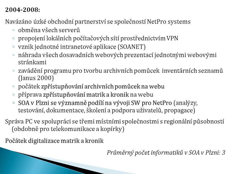 2004-2008: Navázáno úzké obchodní partnerství se společností NetPro systems. obměna všech serverů.