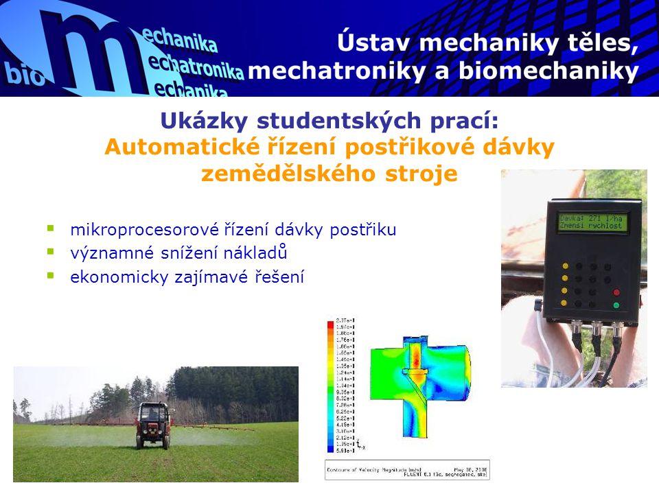 Ukázky studentských prací: Automatické řízení postřikové dávky zemědělského stroje