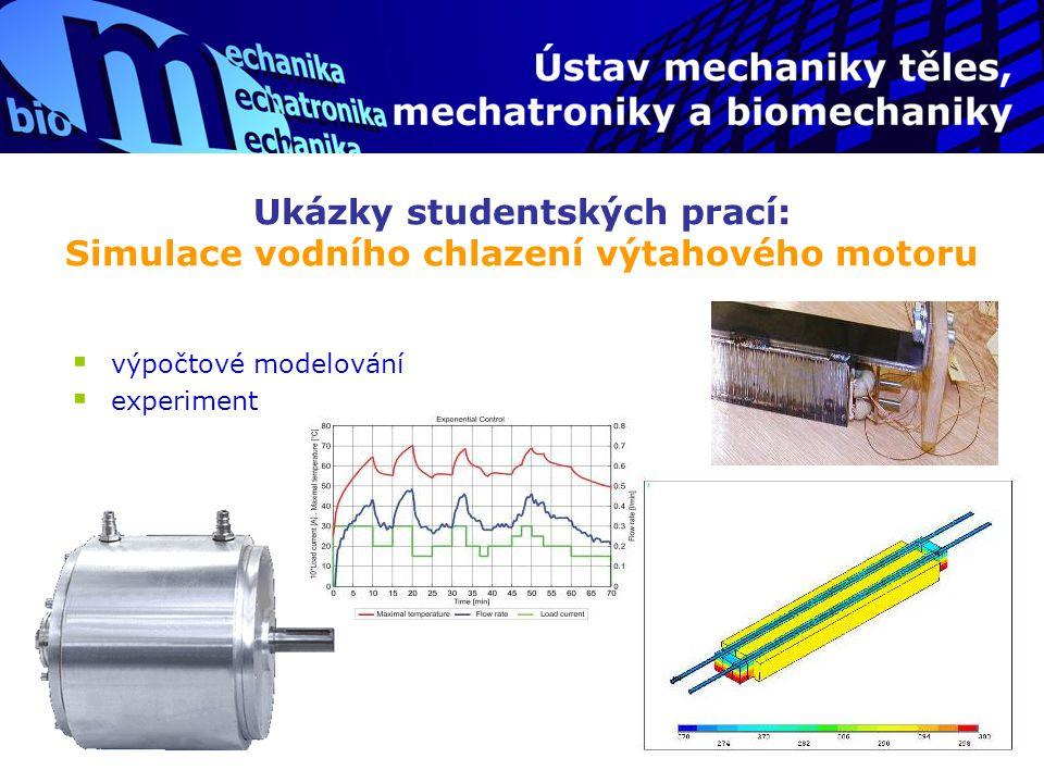 Ukázky studentských prací: Simulace vodního chlazení výtahového motoru
