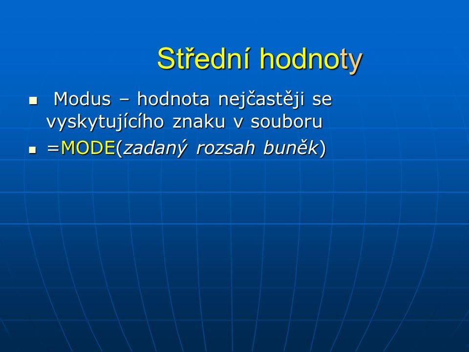 Střední hodnoty Modus – hodnota nejčastěji se vyskytujícího znaku v souboru.