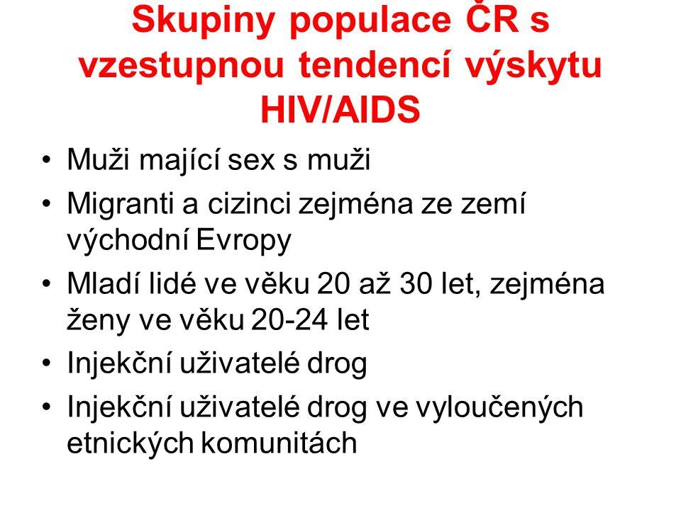 Skupiny populace ČR s vzestupnou tendencí výskytu HIV/AIDS