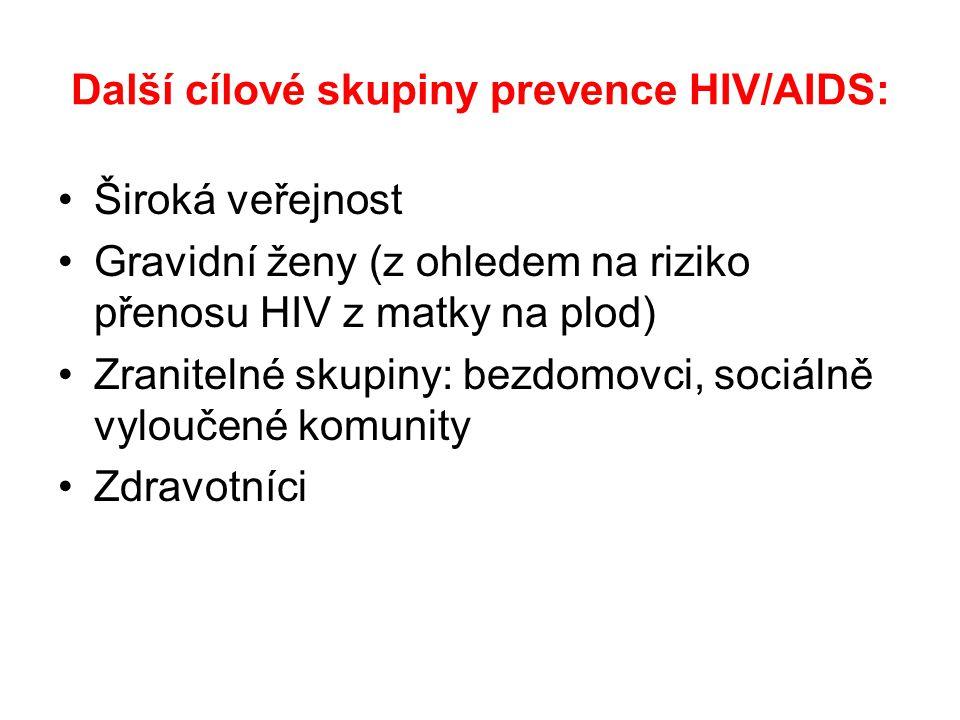 Další cílové skupiny prevence HIV/AIDS: