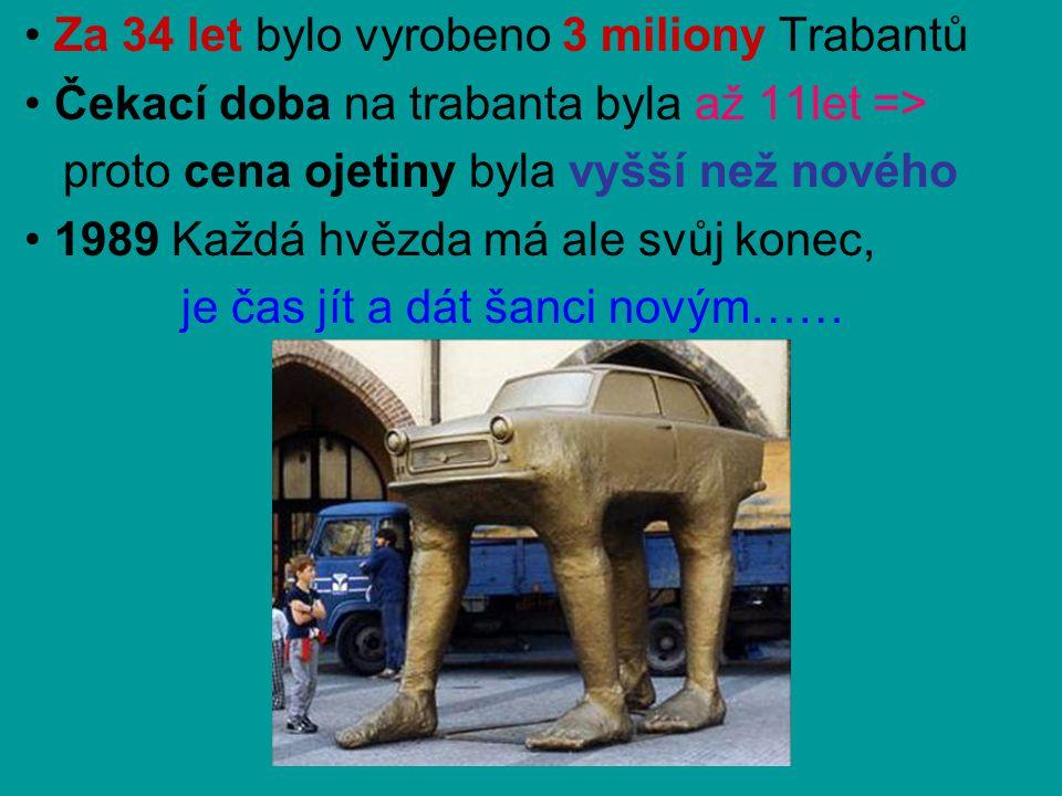 • Za 34 let bylo vyrobeno 3 miliony Trabantů