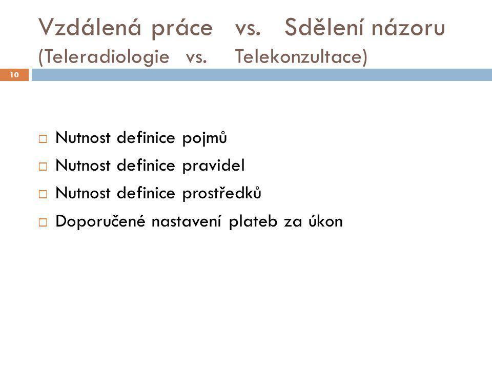 Vzdálená práce vs. Sdělení názoru (Teleradiologie vs. Telekonzultace)