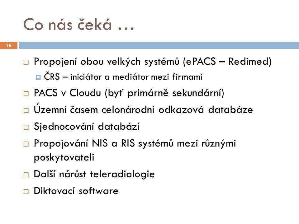 Co nás čeká … Propojení obou velkých systémů (ePACS – Redimed)
