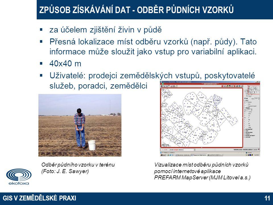 Způsob získávání dat - odběr půdních vzorků