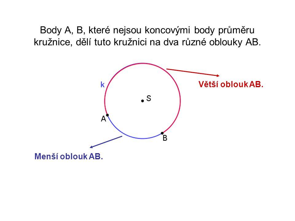 Body A, B, které nejsou koncovými body průměru kružnice, dělí tuto kružnici na dva různé oblouky AB.
