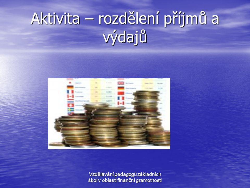 Aktivita – rozdělení příjmů a výdajů
