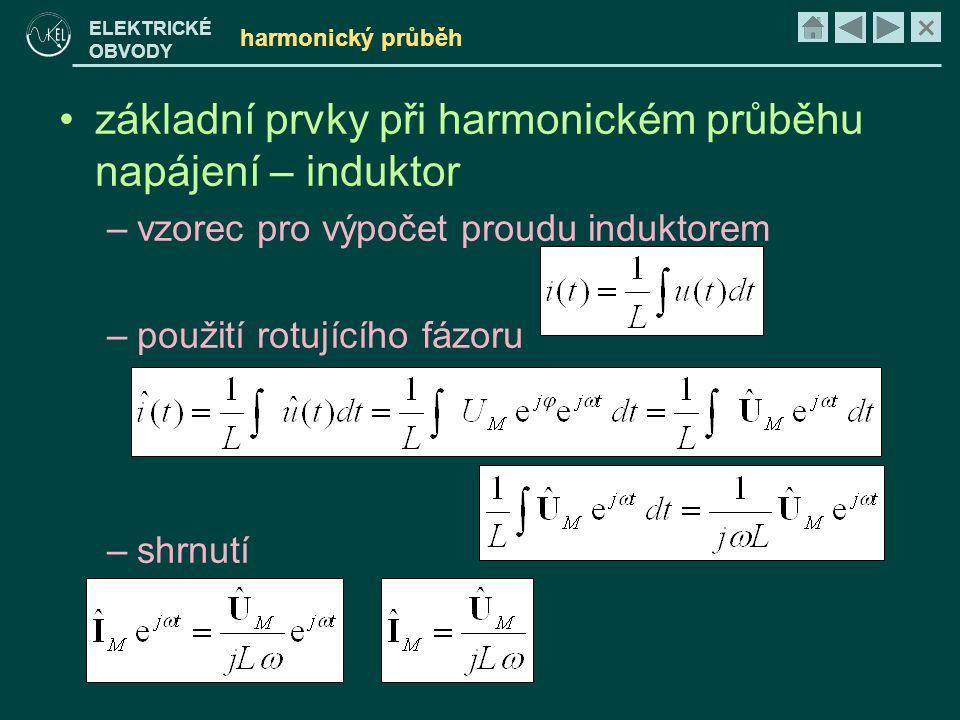 základní prvky při harmonickém průběhu napájení – induktor