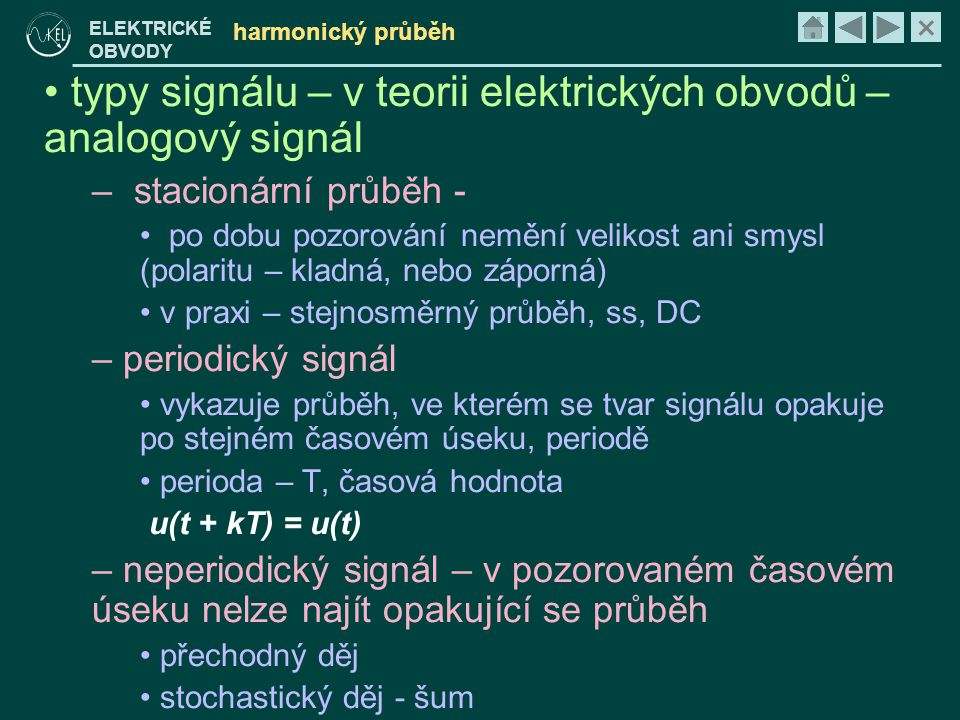 typy signálu – v teorii elektrických obvodů – analogový signál