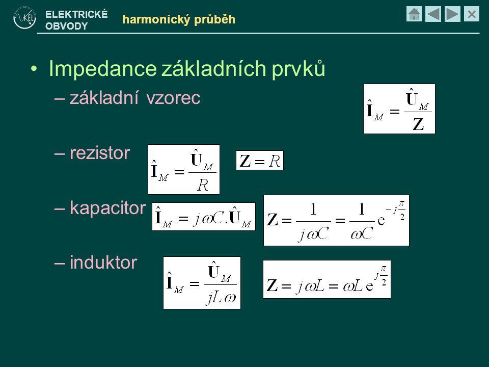 Impedance základních prvků