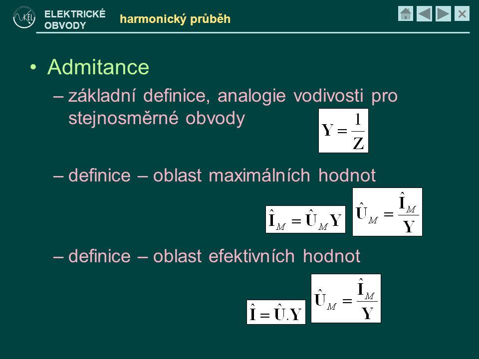 harmonický průběh Admitance. základní definice, analogie vodivosti pro stejnosměrné obvody. definice – oblast maximálních hodnot.