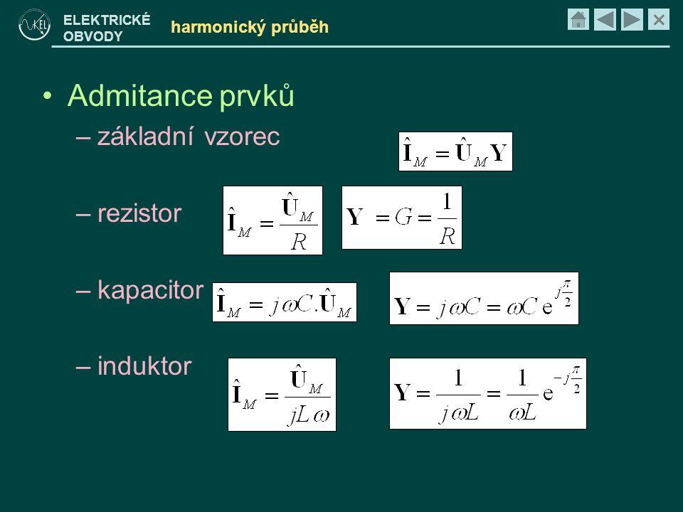 Admitance prvků základní vzorec rezistor kapacitor induktor