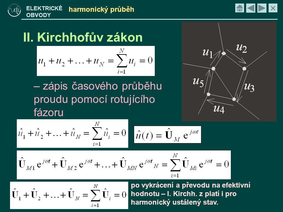 harmonický průběh II. Kirchhofův zákon. zápis časového průběhu proudu pomocí rotujícího fázoru.