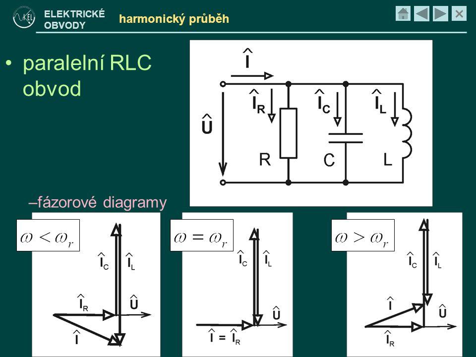 harmonický průběh paralelní RLC obvod fázorové diagramy