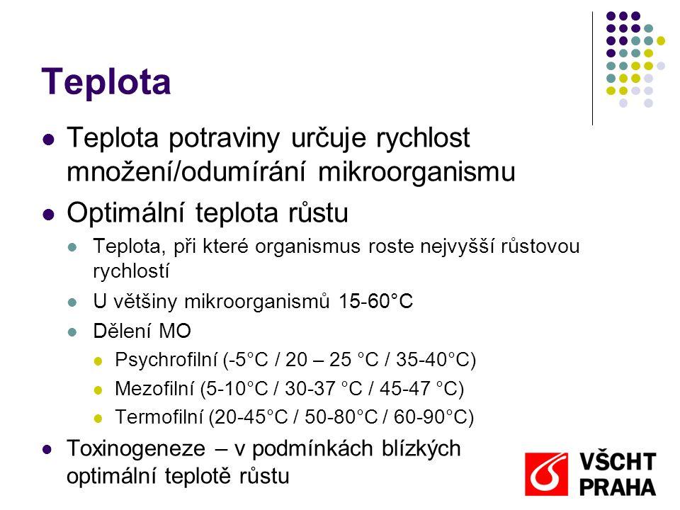 Teplota Teplota potraviny určuje rychlost množení/odumírání mikroorganismu. Optimální teplota růstu.