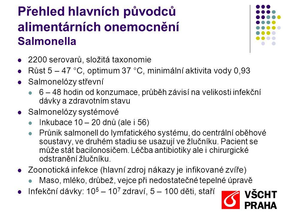 Přehled hlavních původců alimentárních onemocnění Salmonella