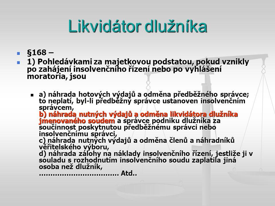 Likvidátor dlužníka §168 –
