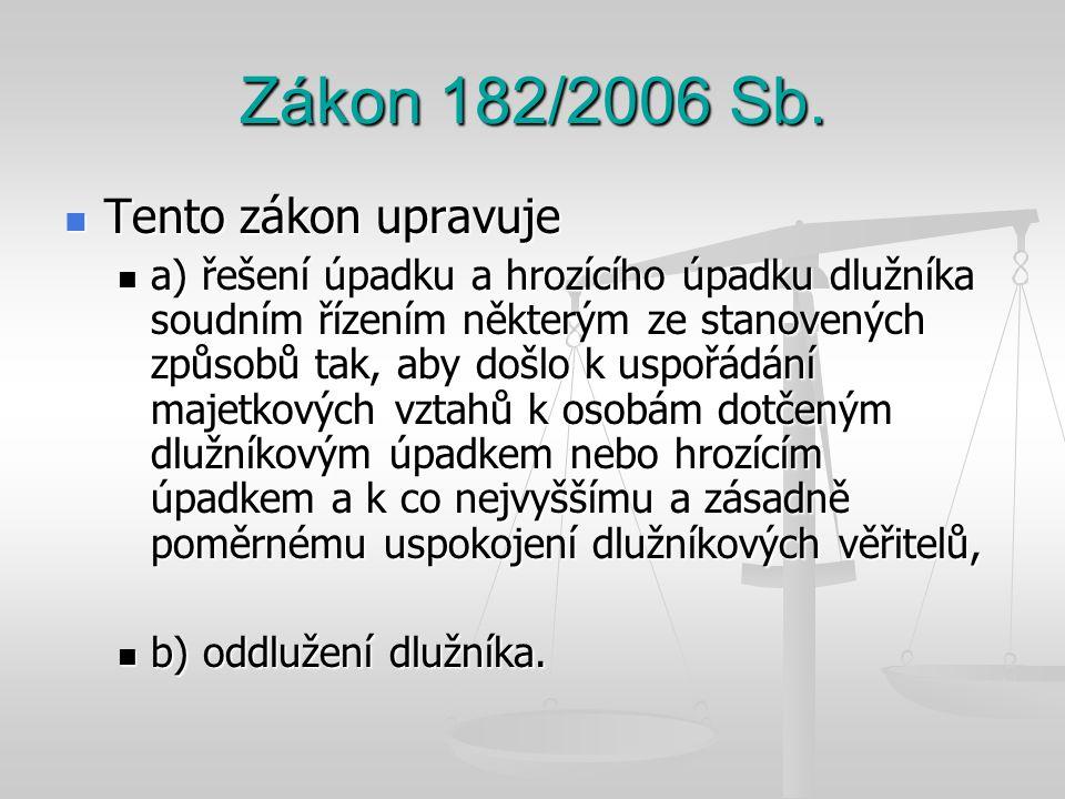 Zákon 182/2006 Sb. Tento zákon upravuje