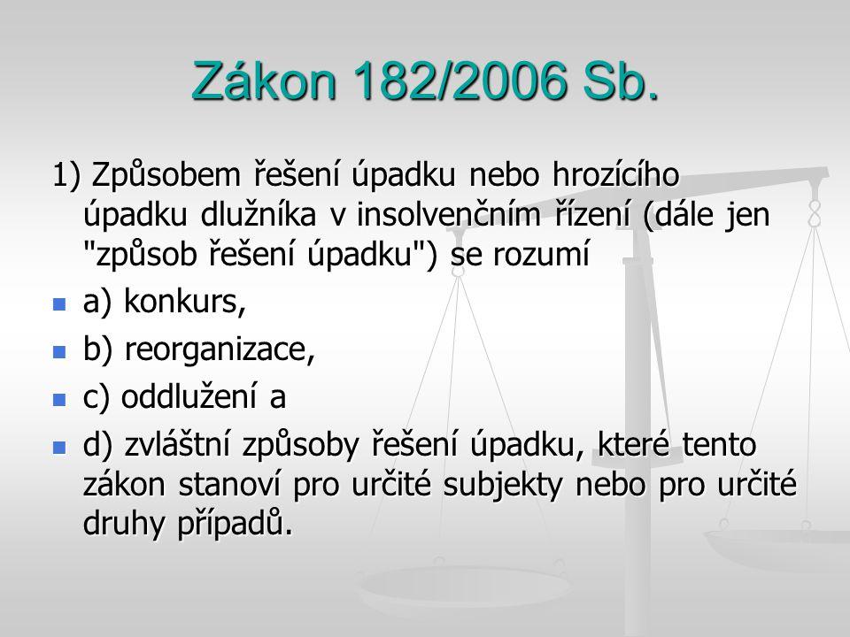 Zákon 182/2006 Sb. 1) Způsobem řešení úpadku nebo hrozícího úpadku dlužníka v insolvenčním řízení (dále jen způsob řešení úpadku ) se rozumí.
