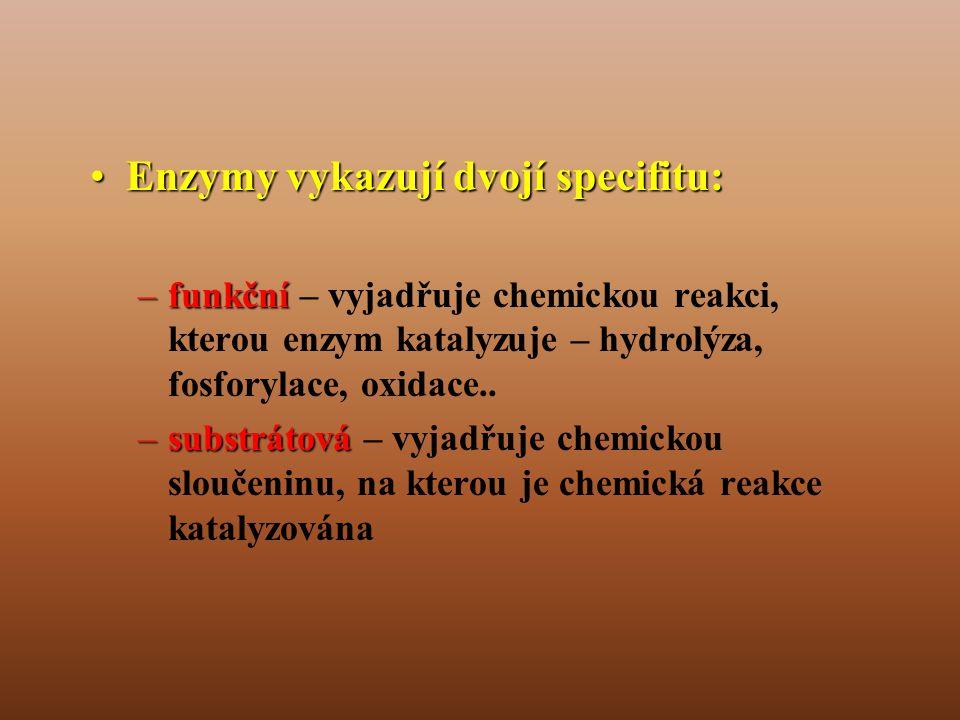 Enzymy vykazují dvojí specifitu: