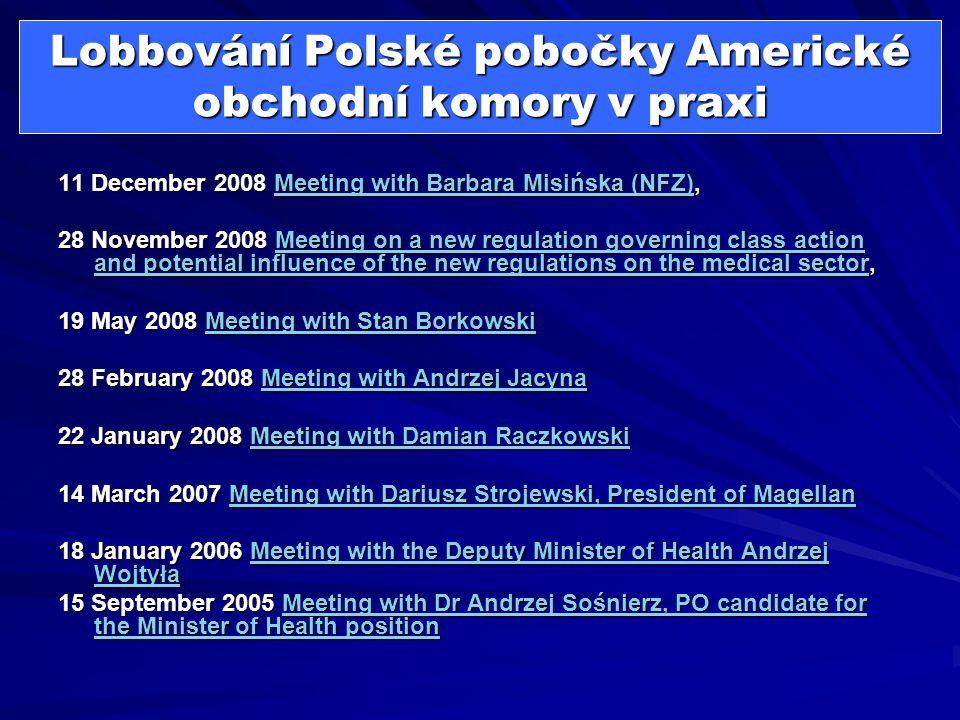 Lobbování Polské pobočky Americké obchodní komory v praxi