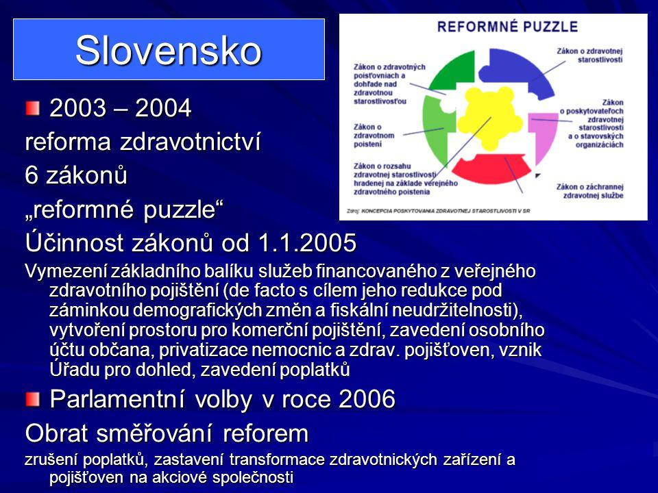 """Slovensko 2003 – 2004 reforma zdravotnictví 6 zákonů """"reformné puzzle"""
