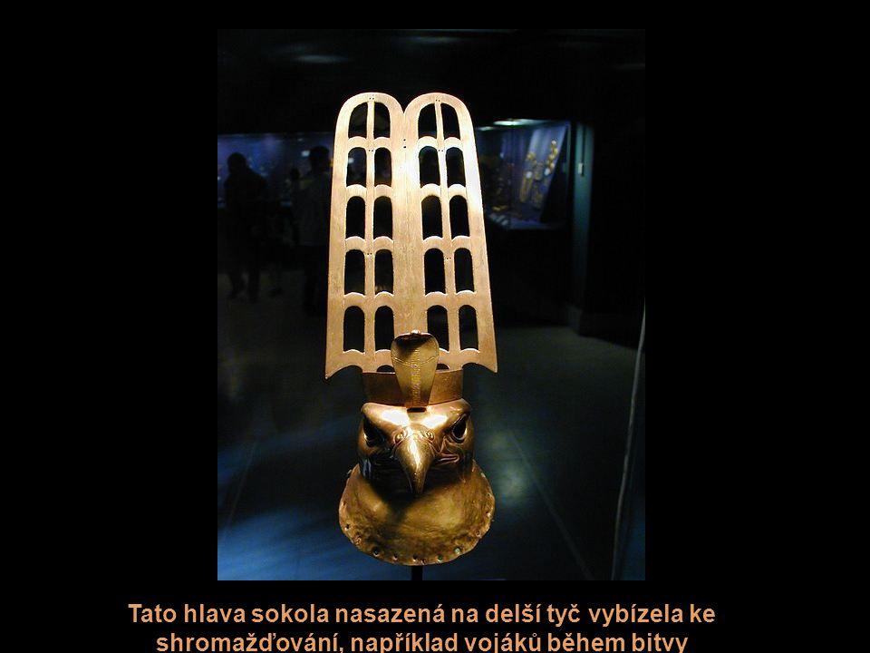 Tato hlava sokola nasazená na delší tyč vybízela ke shromažďování, například vojáků během bitvy