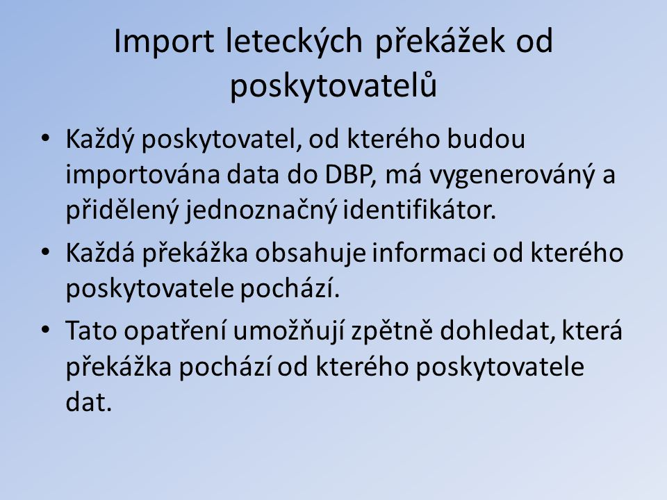 Import leteckých překážek od poskytovatelů
