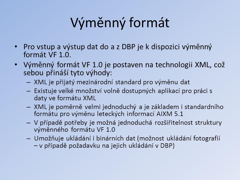 Výměnný formát Pro vstup a výstup dat do a z DBP je k dispozici výměnný formát VF 1.0.