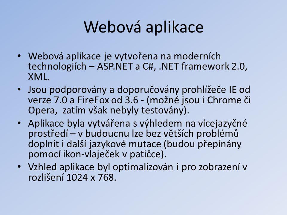 Webová aplikace Webová aplikace je vytvořena na moderních technologiích – ASP.NET a C#, .NET framework 2.0, XML.