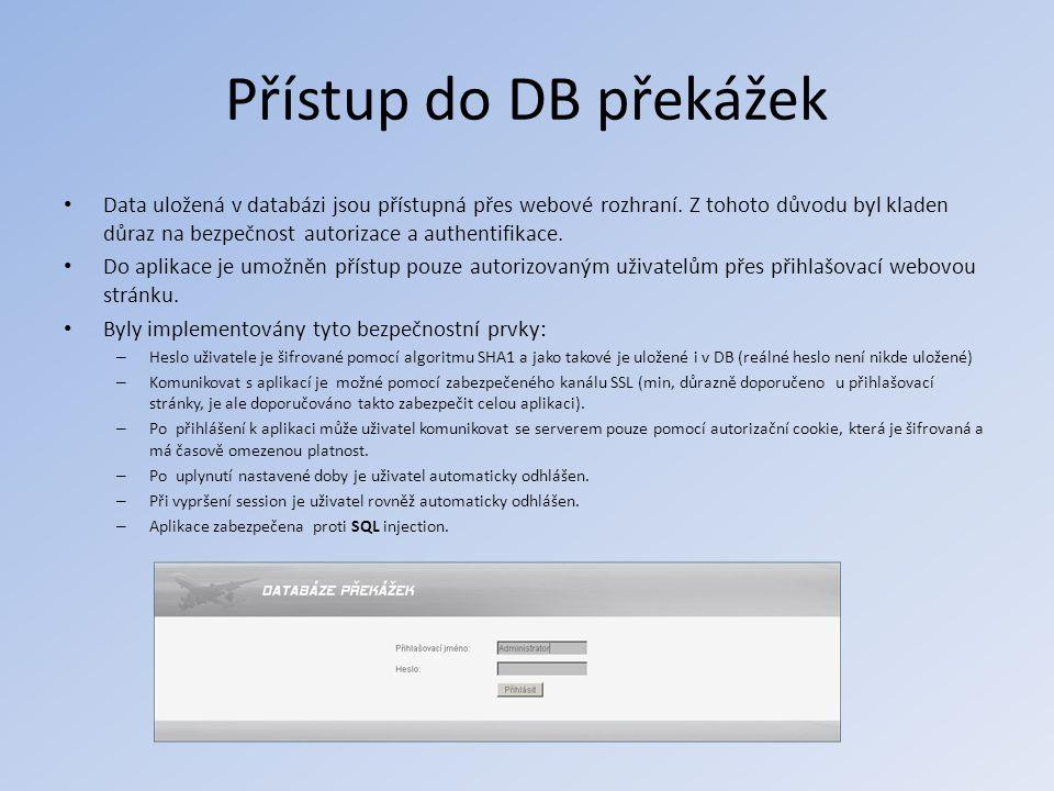 Přístup do DB překážek