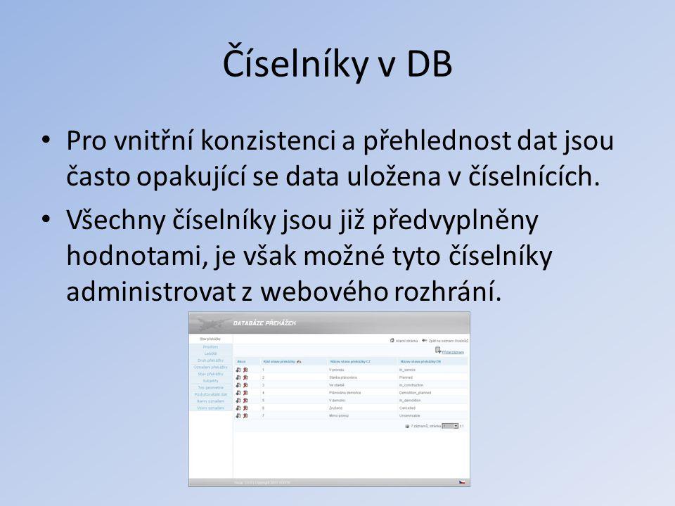 Číselníky v DB Pro vnitřní konzistenci a přehlednost dat jsou často opakující se data uložena v číselnících.