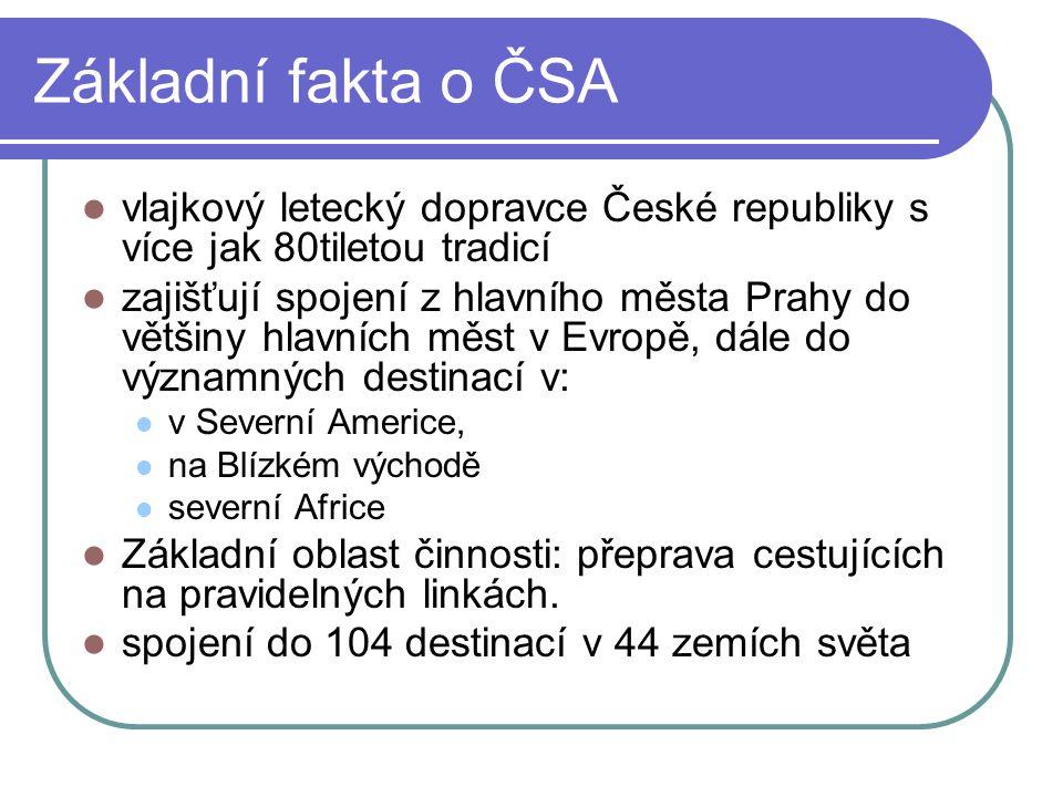 Základní fakta o ČSA vlajkový letecký dopravce České republiky s více jak 80tiletou tradicí.