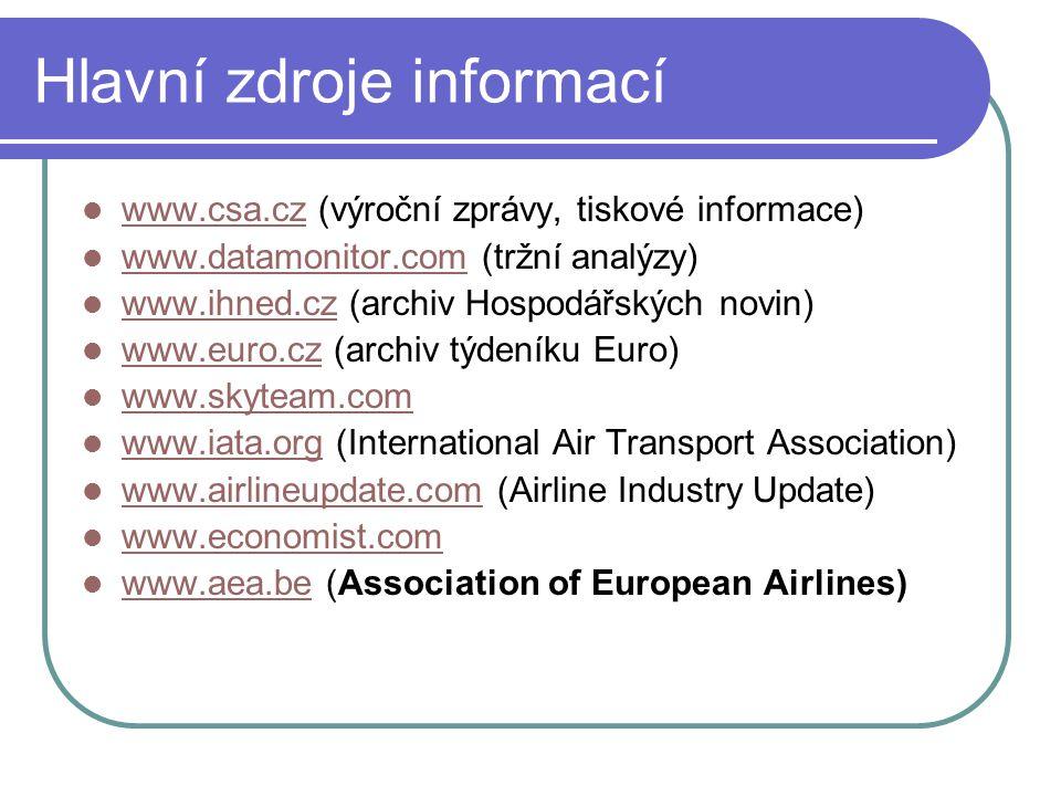 Hlavní zdroje informací