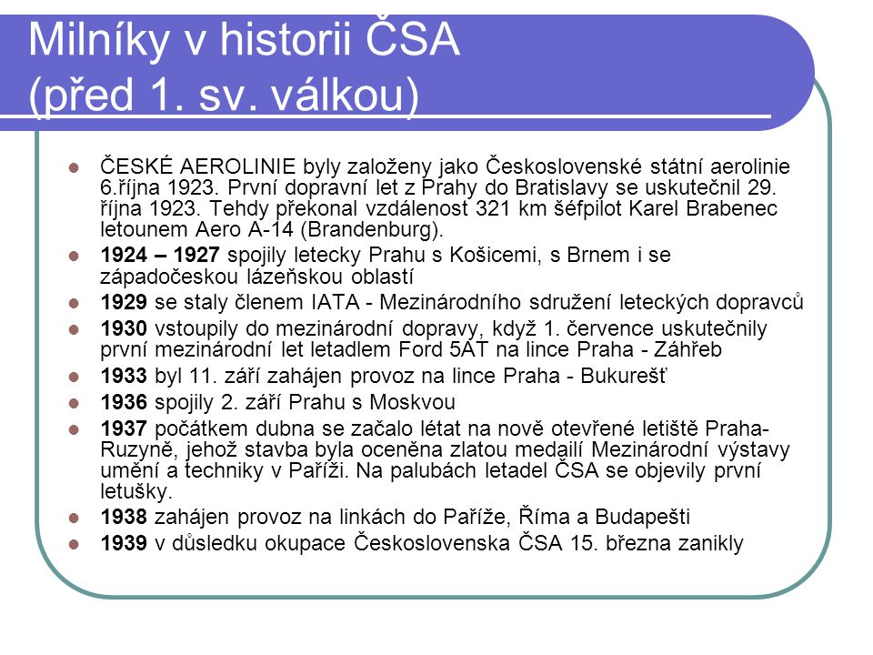 Milníky v historii ČSA (před 1. sv. válkou)