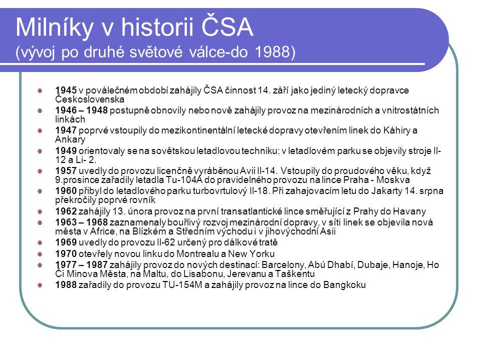 Milníky v historii ČSA (vývoj po druhé světové válce-do 1988)